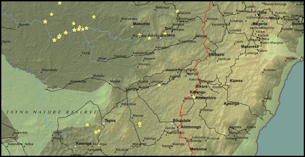 Lubero, Oicha, Butembo and Beni Territories, North Kivu Province, DRC (Detail)