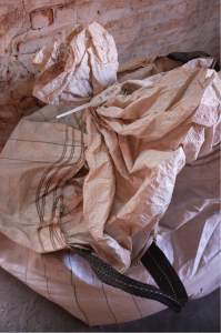 Bag of mineral tagged for export on the mining site of Rutongo, Rwanda