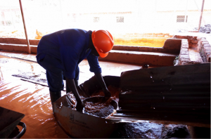 Processing of mineral on the mining site of Rutongo, Rwanda
