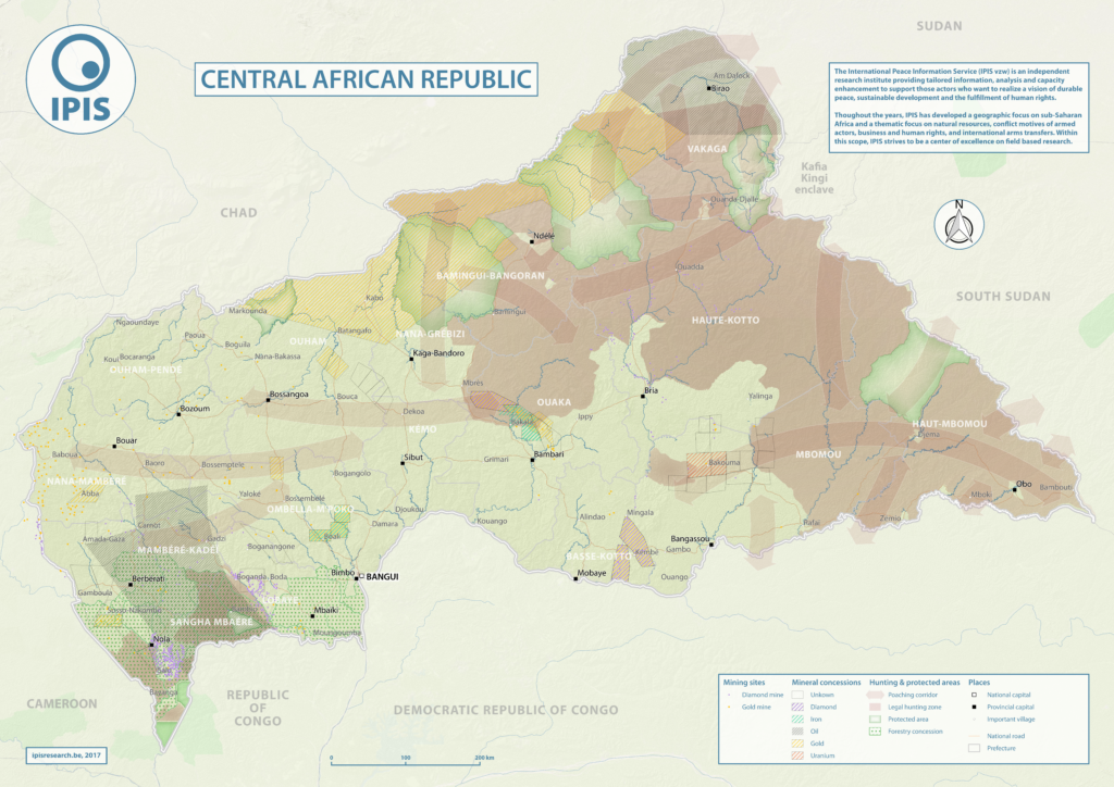 Resource Map Africa.Natural Resources In Central African Republic Ipis