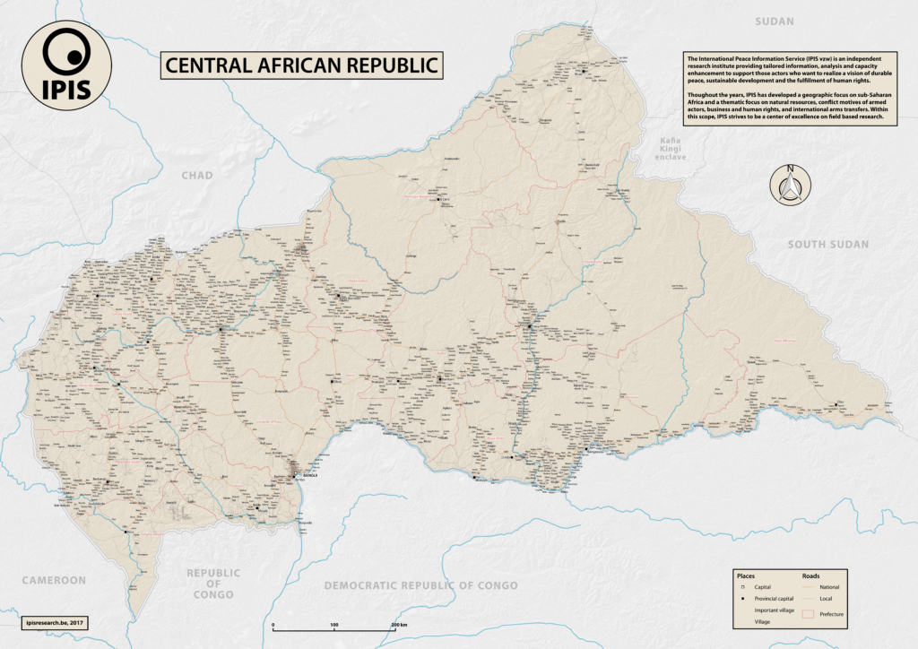 Central African Republic Road Map IPIS - Central african republic map